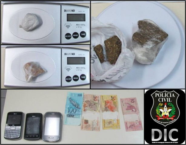 DIC de Rio do Sul prende casal por tráfico de drogas