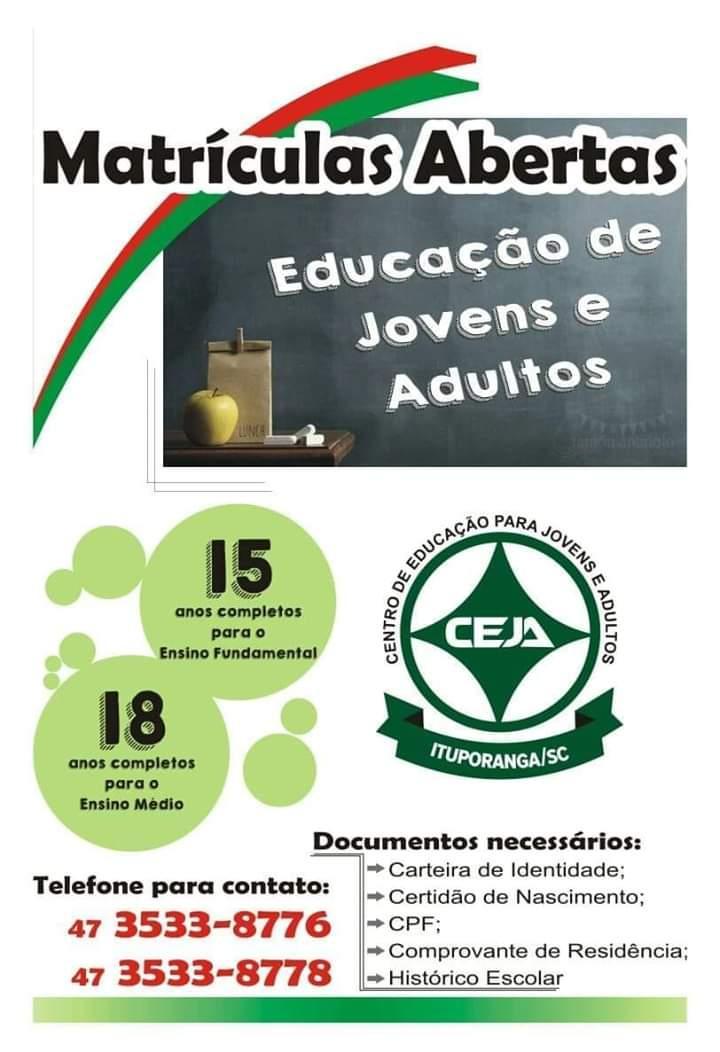 Abertas matrículas para quem deseja fazer o CEJA no segundo semestre deste ano na região