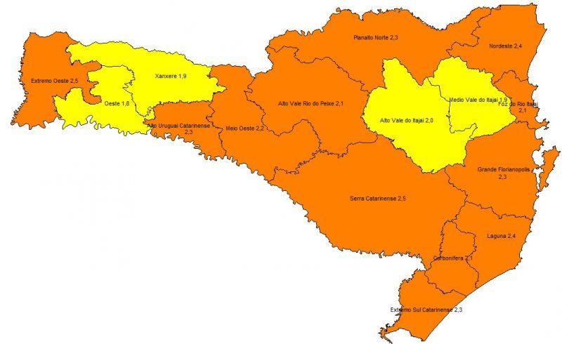 Alto Vale do Itajaí volta para o nível alto da Covid-19 após três meses