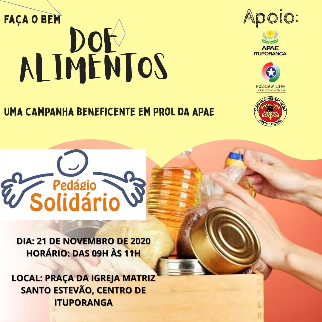 Apae de Ituporanga promove Pedágio Solidário para arrecadar alimentos e produtos de higiene e limpeza
