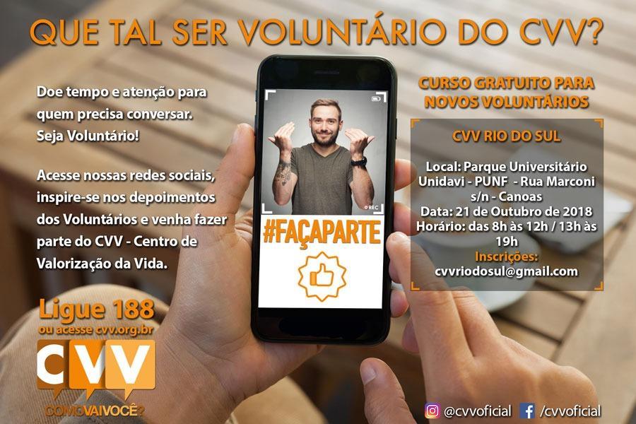 CVV Rio do Sul precisa de voluntários