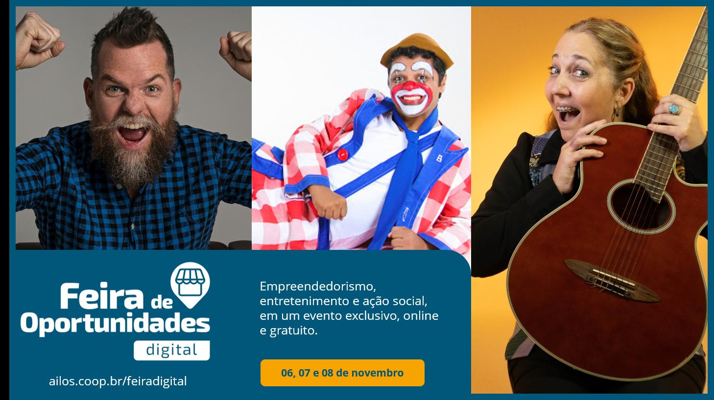 Feira de Oportunidades Digital da Viacredi Alto Vale reúne Marcos Piangers, Dazaranha, Biribinha e Nana Toledo