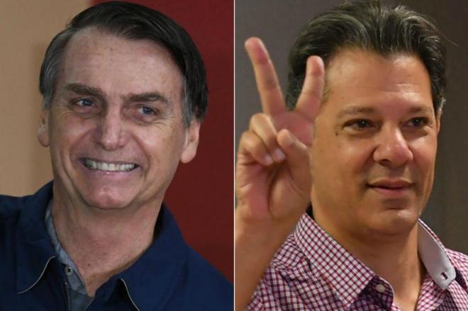Fernando Haddad (PT) e Jair Bolsonaro (PSL) vão ao segundo turno