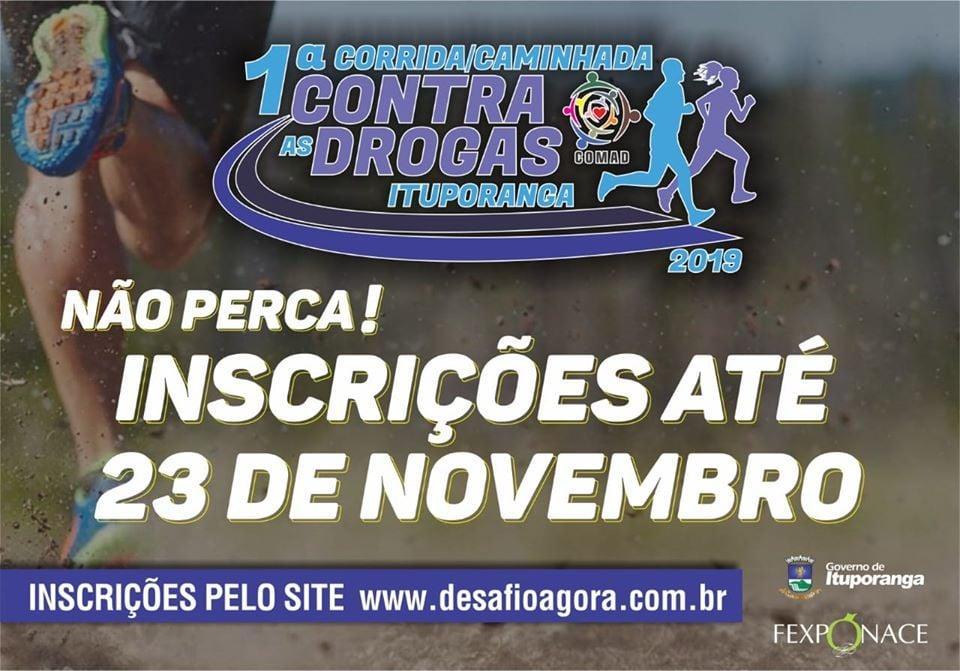 Inscrições para 1ª Corrida e Caminhada contra as Drogas em Ituporanga encerram sábado (23)