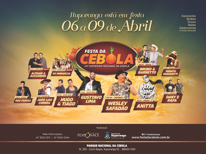 Abertas Inscrições para expositores de cebola na 24ª Expofeira Nacional da cebola de Ituporanga