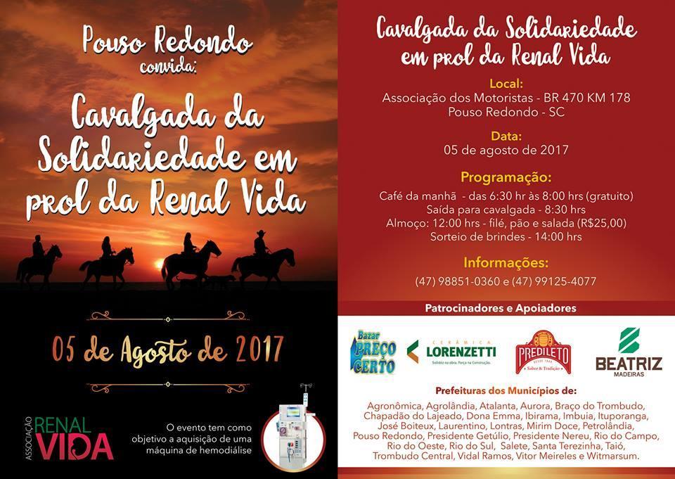 Cavalgada da Solidariedade em prol da Associação Renal Vida será realizada em Pouso Redondo