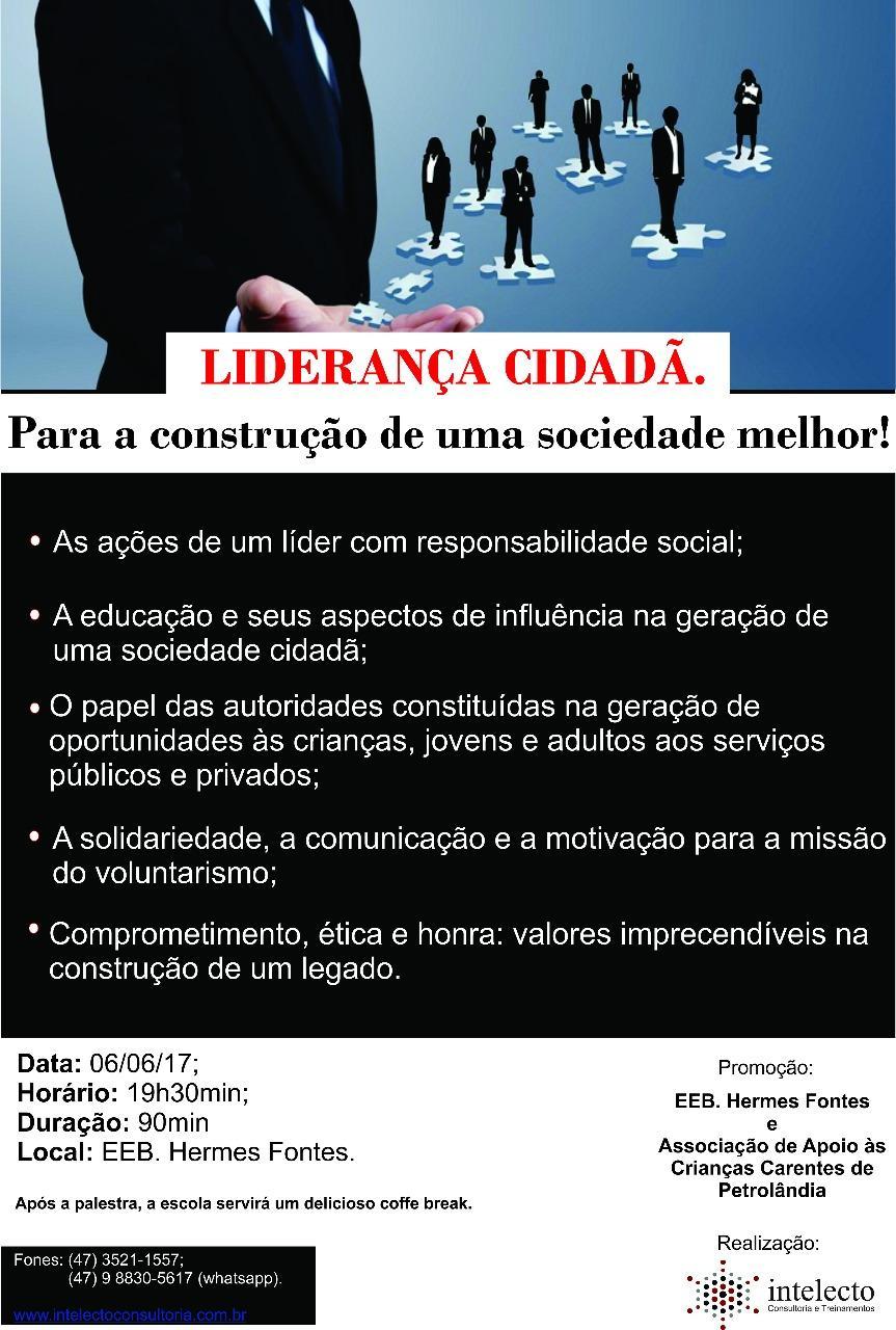 Com o tema: Liderança Cidadã, palestra será realizada em Petrolândia