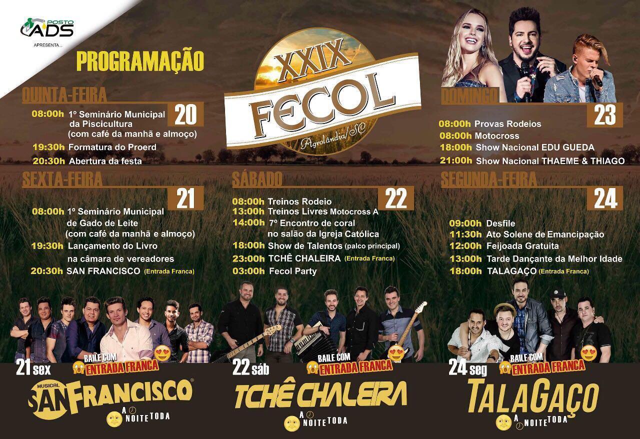 FECOL: Festa da Colheita terá entrada gratuita todos os dias do evento, em Agrolândia