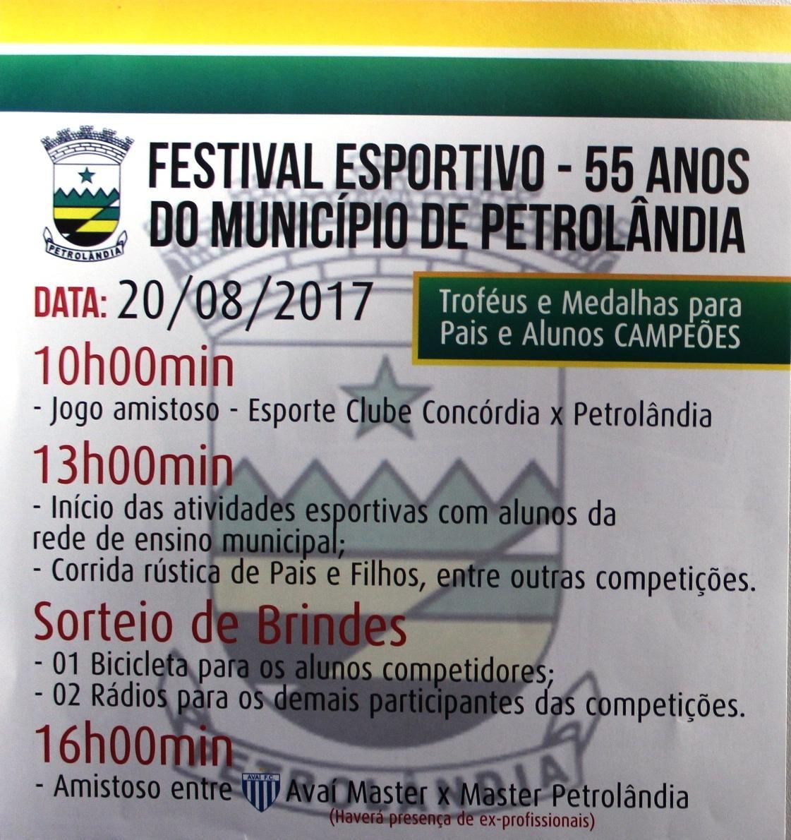 Festival Esportivo ocorre no próximo domingo, em Petrolândia
