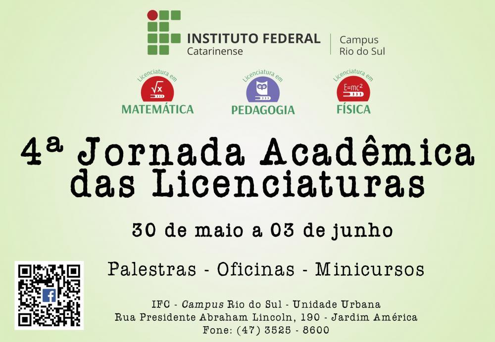 IFC de Rio do Sul promove 4ª Jornada Acadêmica das Licenciaturas
