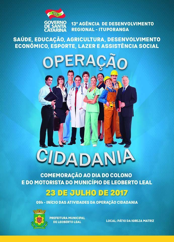 Operação Cidadania será neste domingo, 23, em Leoberto Leal