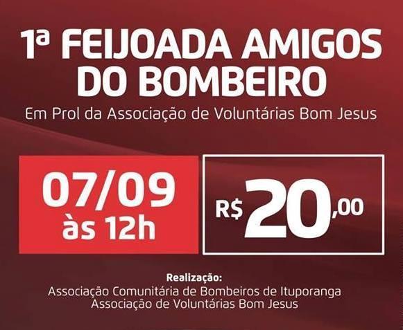 """Primeira Feijoada """"Amigos do Bombeiro"""" será realizada nesta quarta-feira em prol do Hospital Bom Jesus"""