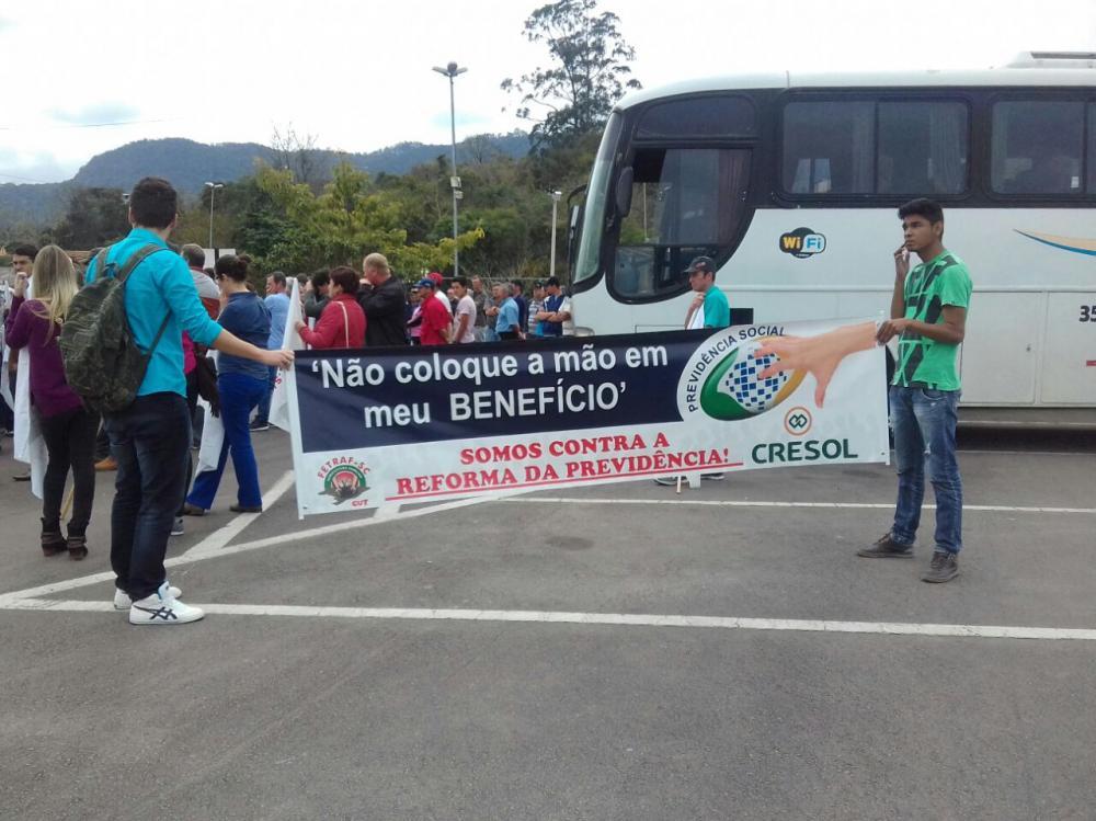 Rio do Sul recebeu na sexta-feira, 02, manifesto contra a reforma previdenciária proposta pelo Governo Federal.