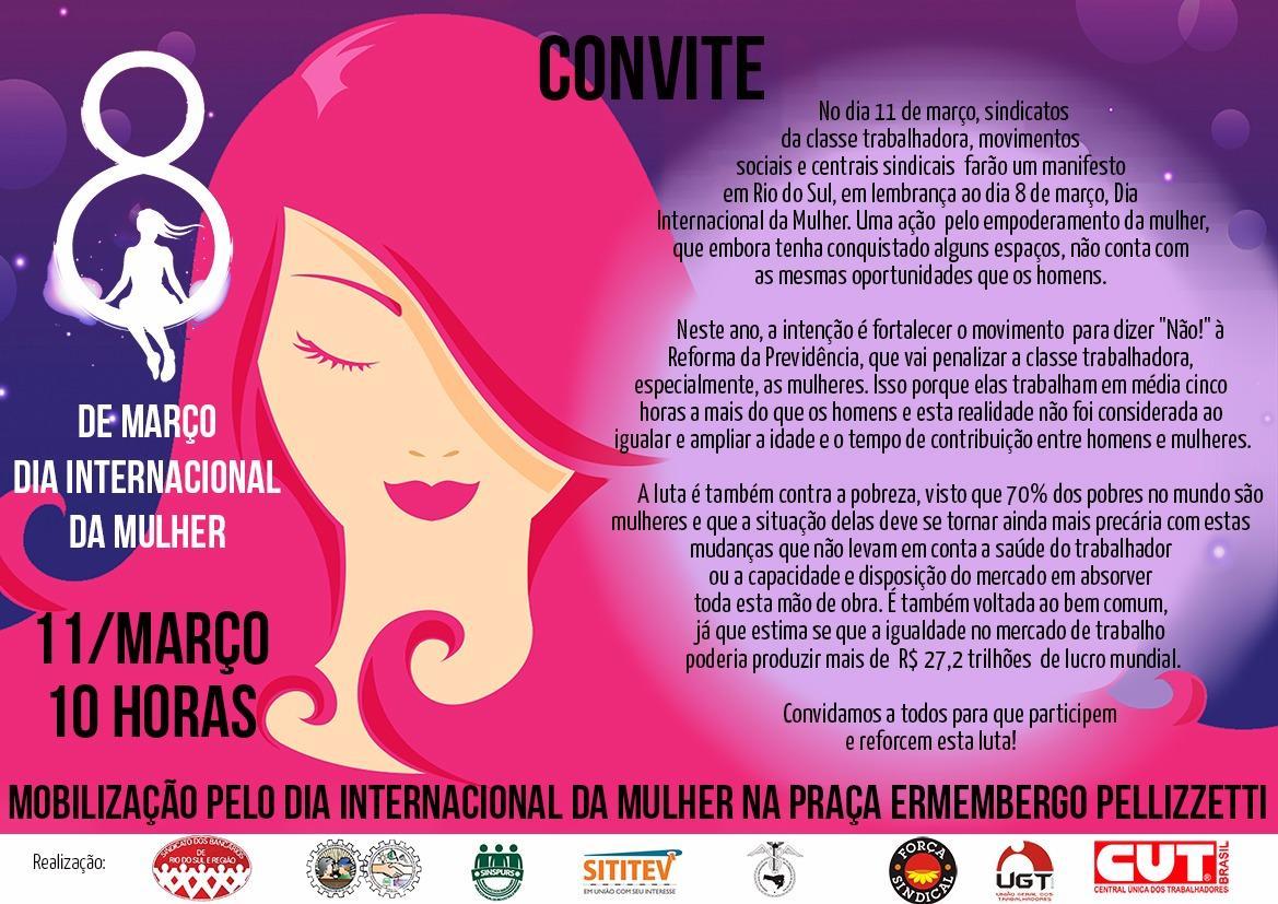 Sindicatos de Rio do Sul e Região organizam manifesto contra a Reforma da Previdência