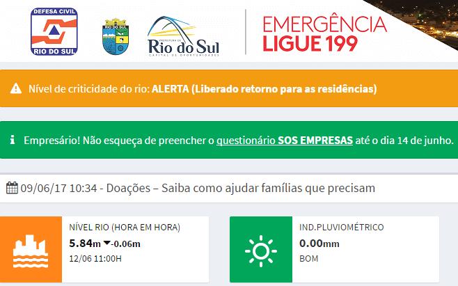 Site da Defesa Civil de Rio do Sul tem mais de três milhões de acessos durante a enchente