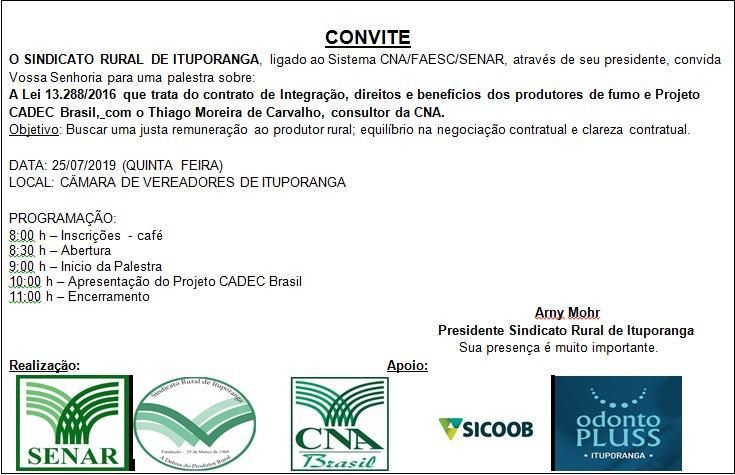 Palestra sobre direitos do fumicultor vai ser realizada em Ituporanga