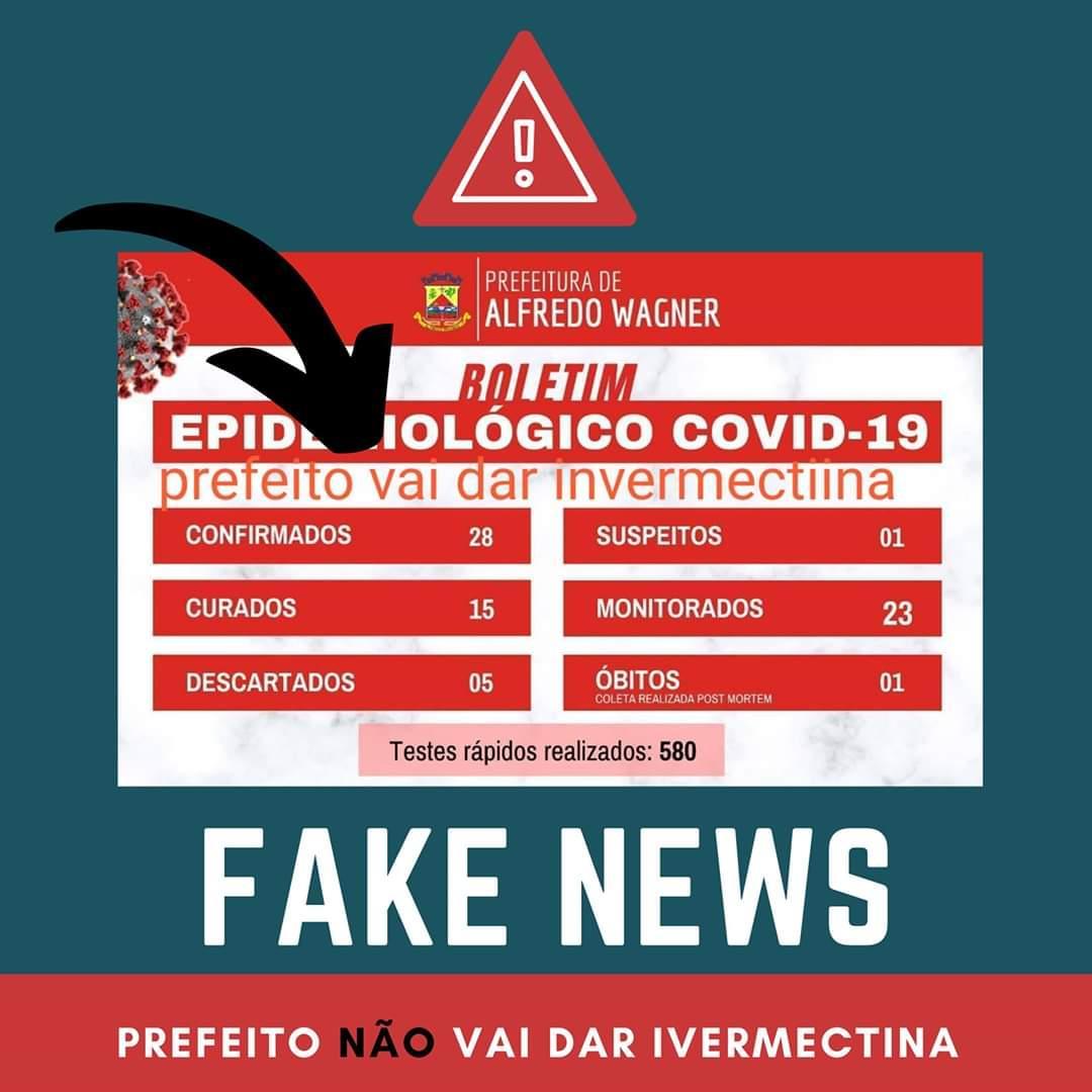 """Prefeito de Alfredo Wagner desmente """"fake news"""" e afirma que não vai distribuir invermectina para a população"""