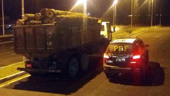 PRF apreende toras de araucária transportadas ilegalmente e prende motorista por crime ambiental no planalto catarinense