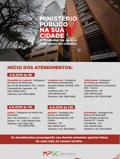 """Promotorias de Justiça de Ituporanga lançam projeto """"Ministério Público na sua cidade"""""""