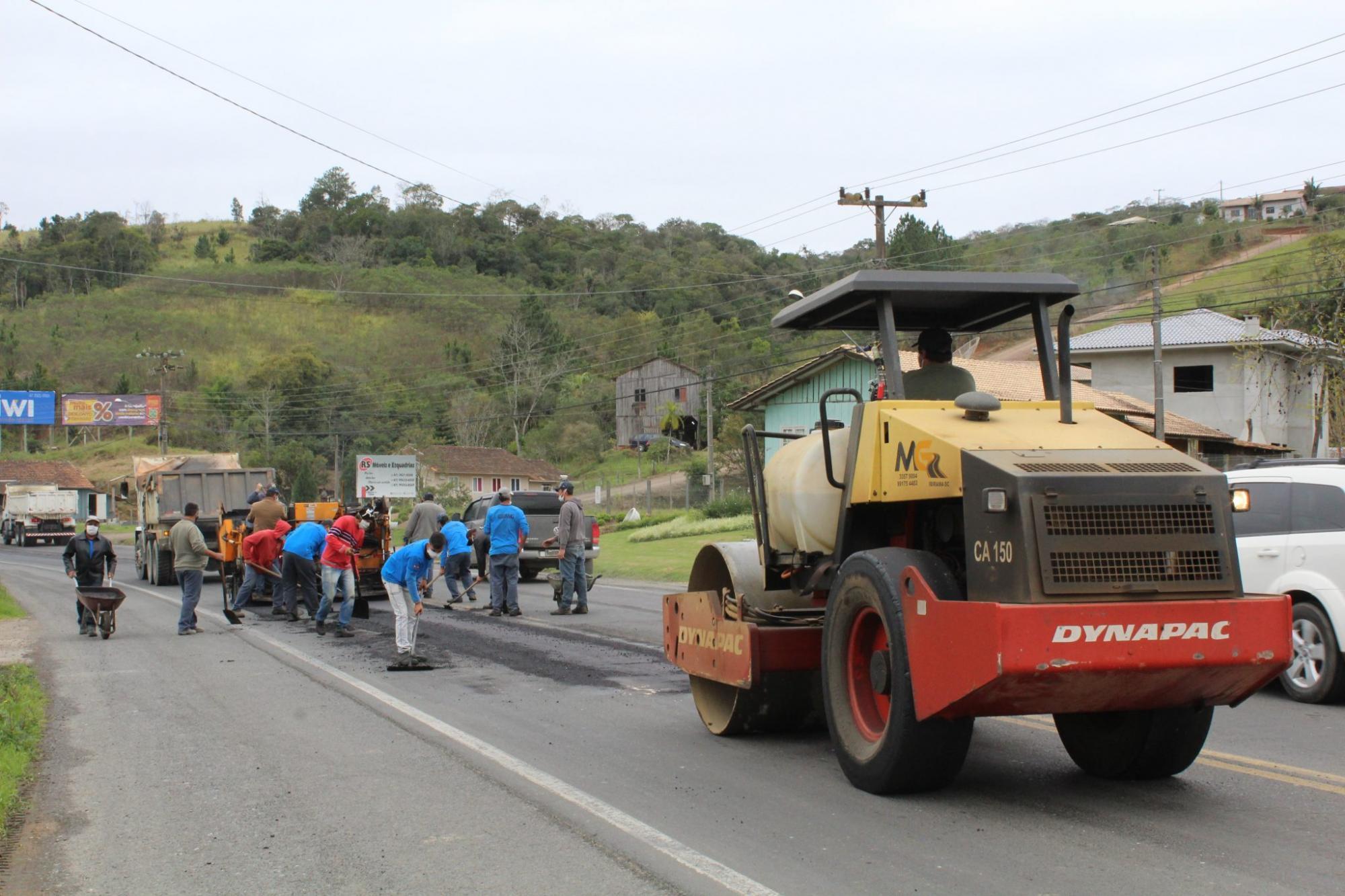 SC-350 recebe operação tapa-buracos entre Alfredo Wagner e Rio do Sul