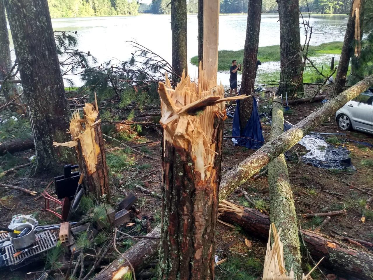 Temporal derruba árvores e causa estragos na Represa Perimbó em Petrolândia. Três pessoas ficaram feridas