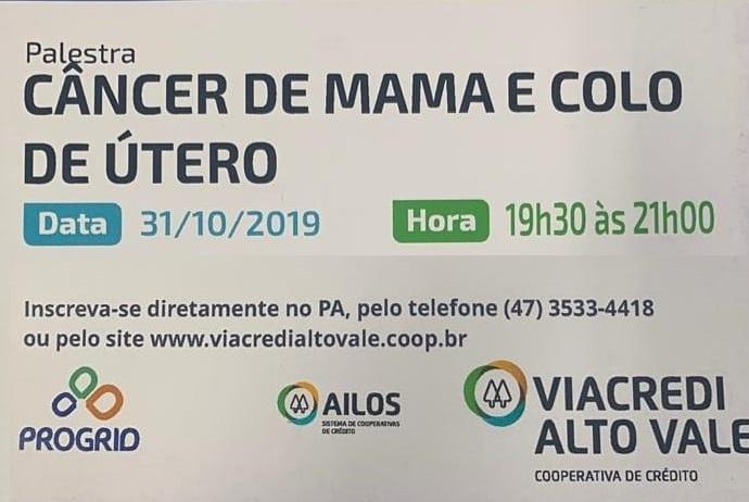 """Viacredi Alto Vale promove palestra """"Câncer de Mama e Colo de Útero"""" em Ituporanga"""