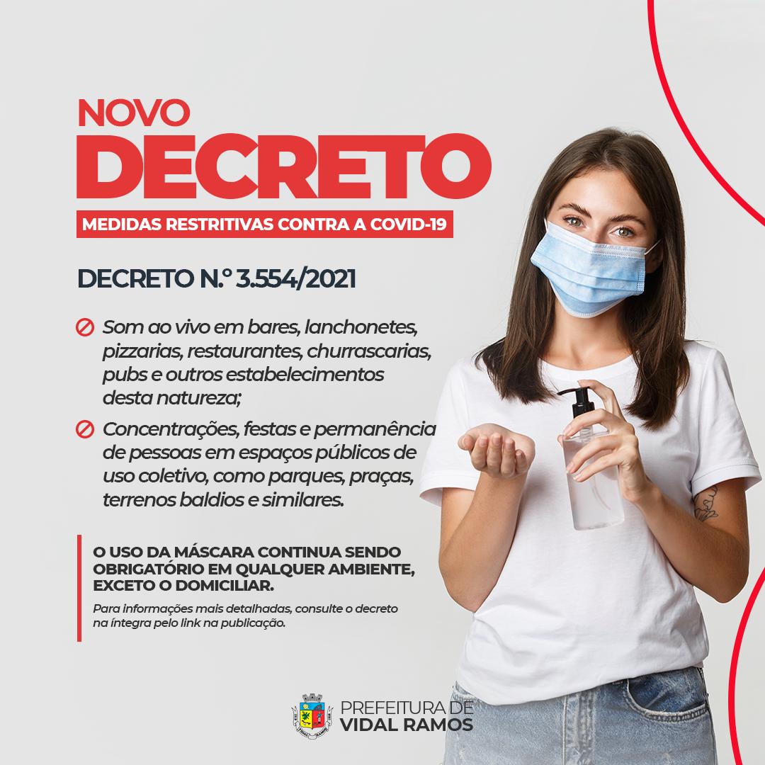 Vidal Ramos prorroga decreto com medidas contra a Covid-19