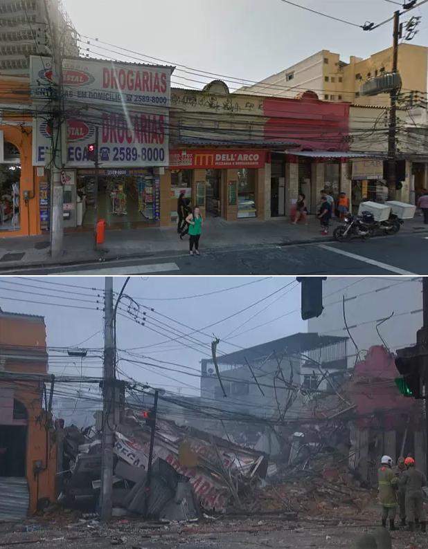 Imagens mostram o local antes e depois da explosão (Foto: Reprodução/GoogleStreetView e GloboNews)