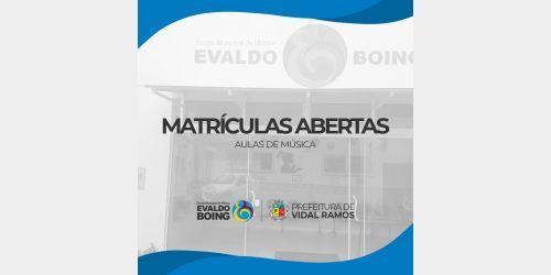 Escola de música Evaldo Boing de Vidal Ramos abre inscrições para aulas de música