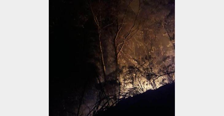 Seca: Bombeiros levam mais de sete horas para combater incêndio em vegetação, em Vidal Ramos